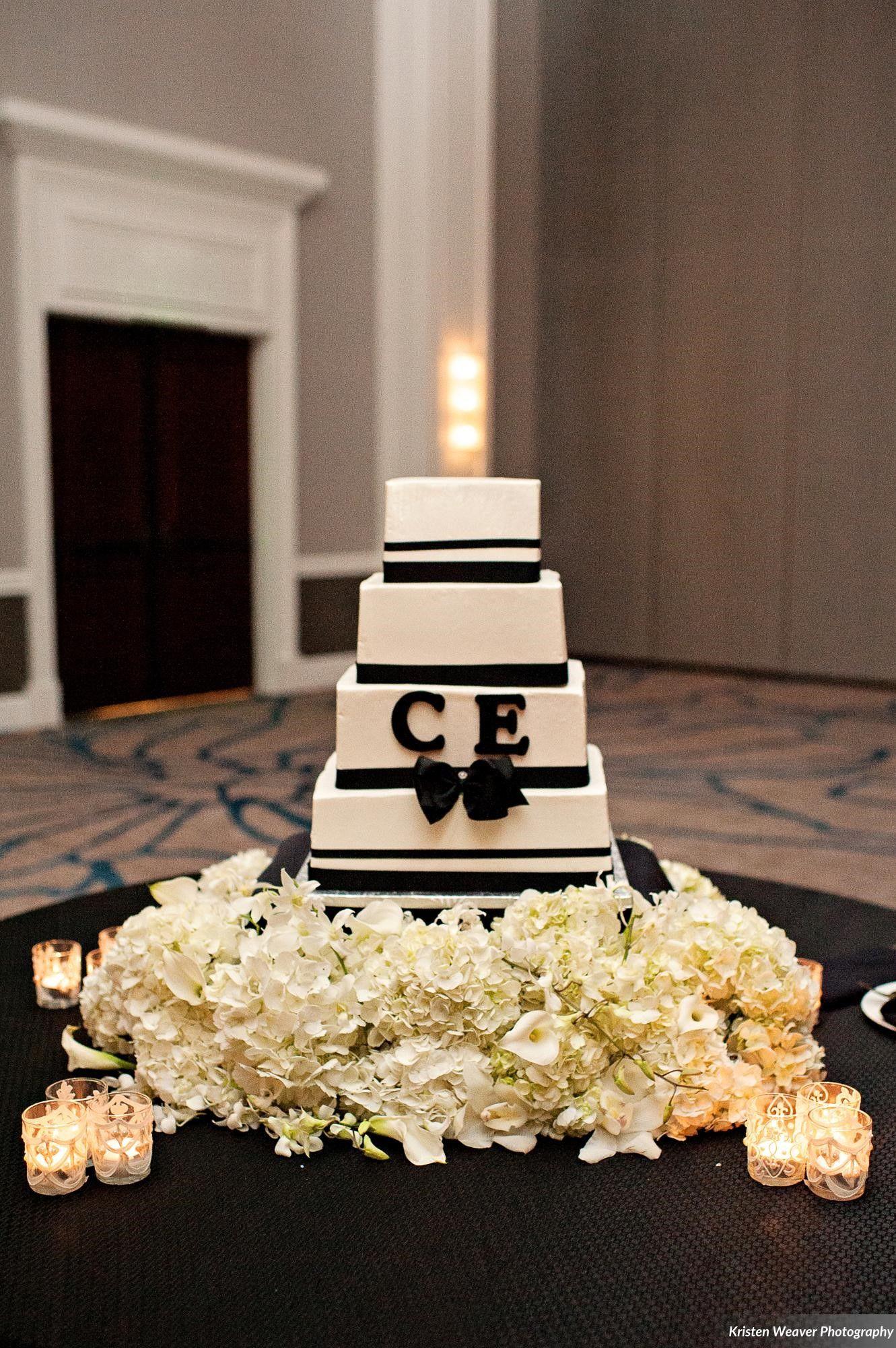 Black and white wedding decor ideas  DogwoodBlossomKristenWeaverWeddingCakeModernWeddingjpgg