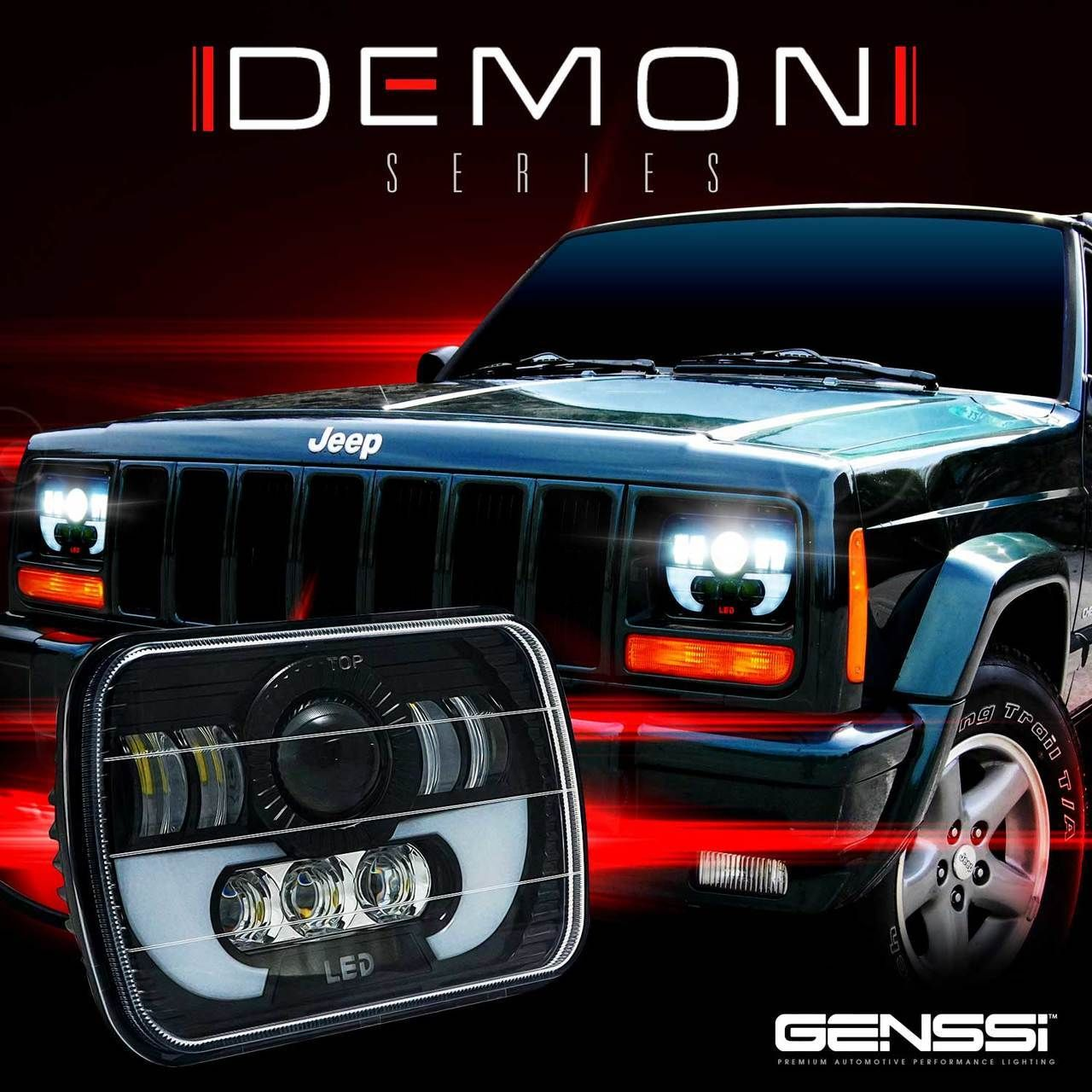 Demon Led Black Projector Headlights W Drl For Xj And Yj Jeep