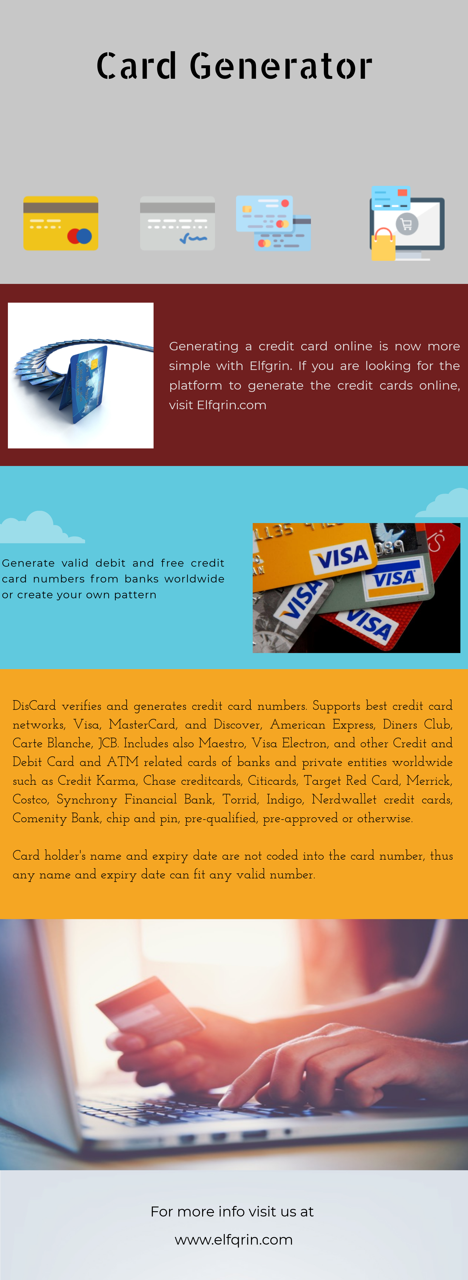 Generating a credit card online is now more simple with elfqrin.com. If you are looking for the platform to generate the credit cards online.