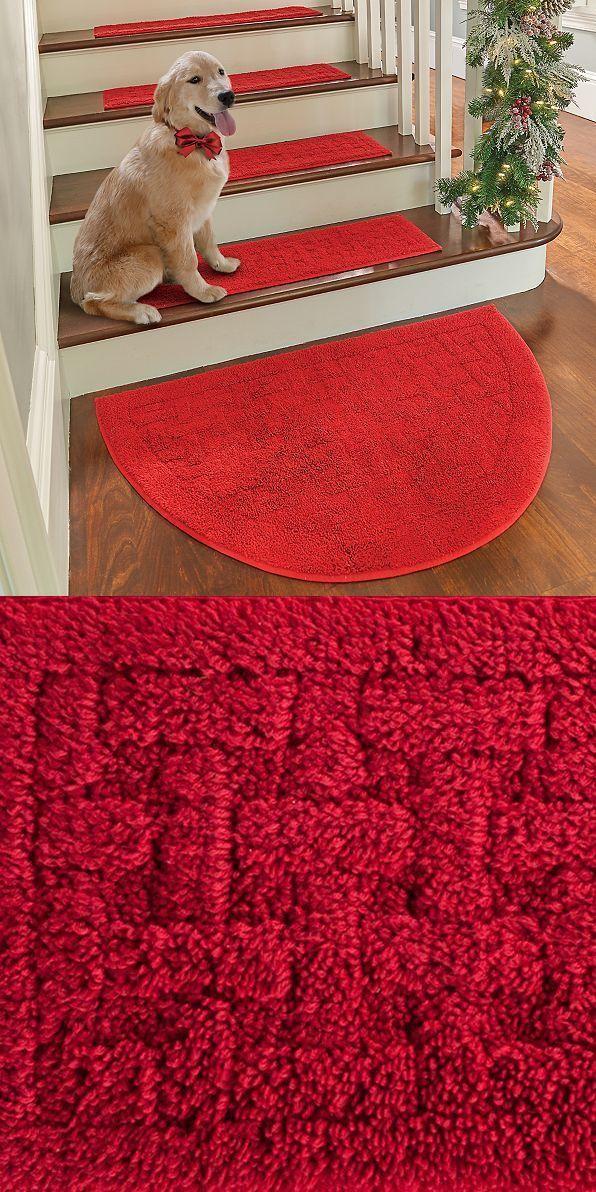 Stair Treads 175517 Red Half Moon Rug Sliced Landing   Half Moon Stair Carpet