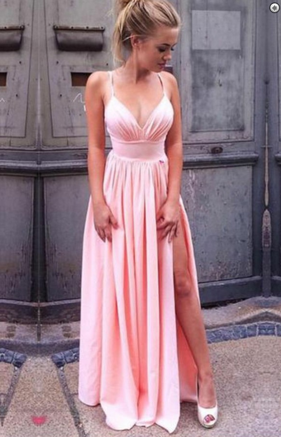 A-Line Spaghetti Straps Pink Pleated Prom Dress with | Best Dresses ...