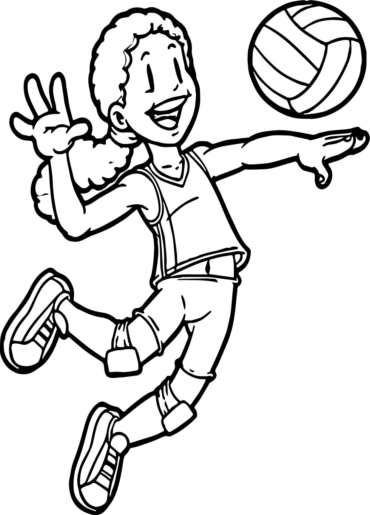 awesome Kids Playing Sports Volleyball Coloring Page
