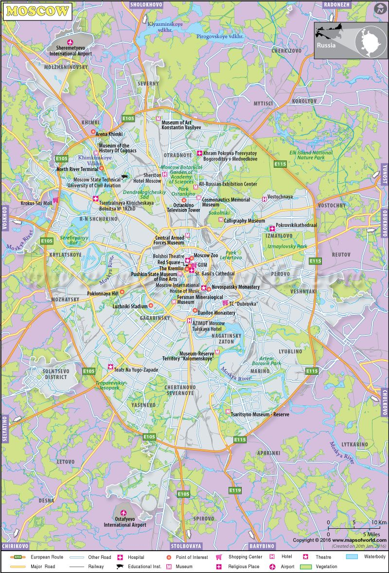 Moscow City Map, Russia | Location Map | Moscow map, Map, Russia map