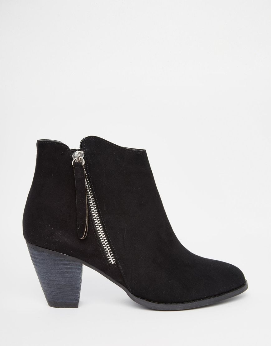 Head Over Heels By Dune Patel Black Heeled Western Ankle Boots