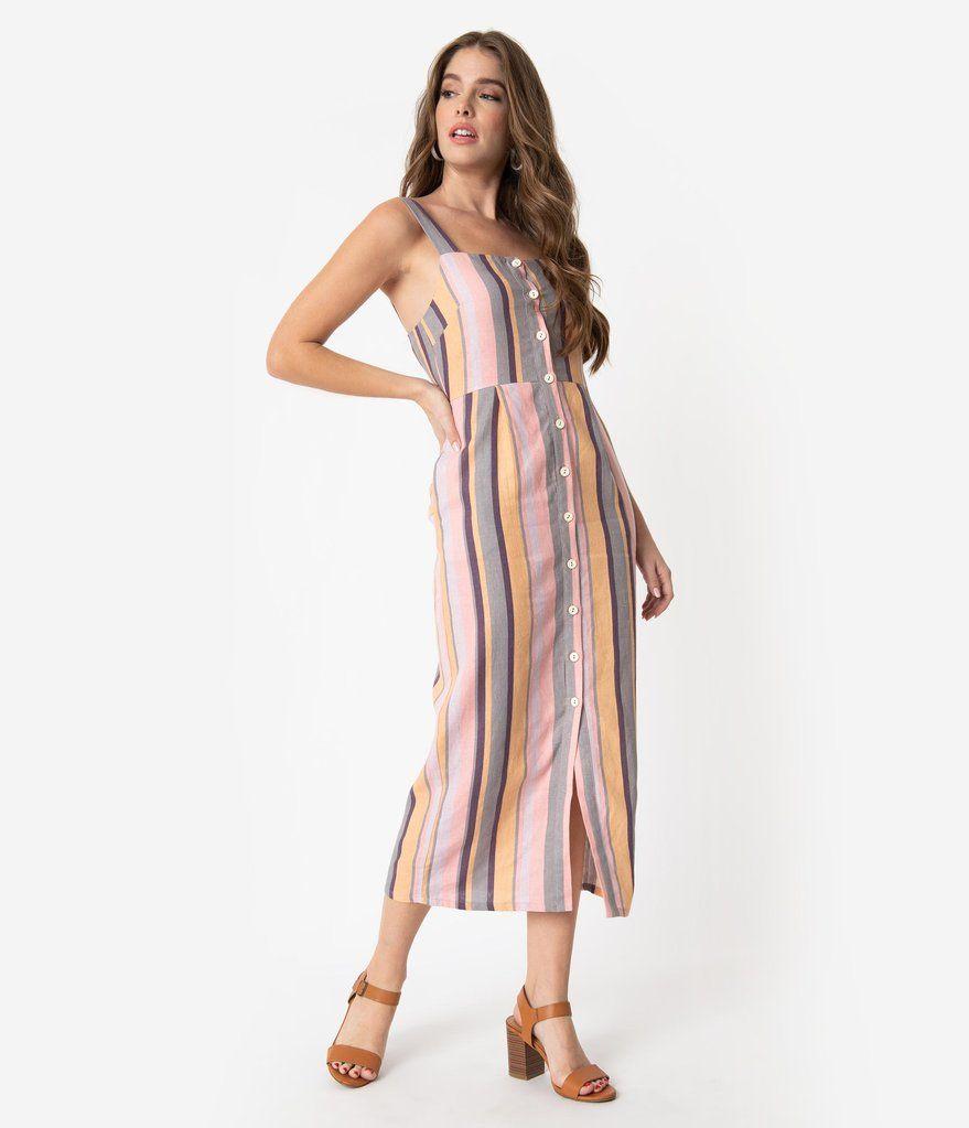 Multicolor Pastel Stripe Linen Button Up Midi Dress Button Up Maxi Dress Striped Midi Dress Dresses [ 1023 x 879 Pixel ]
