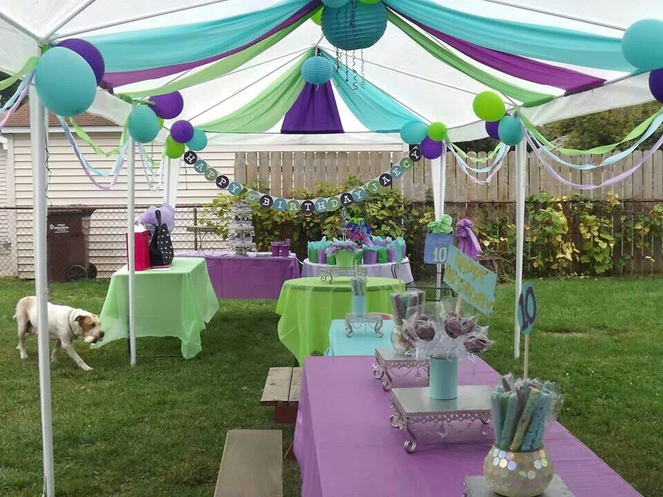 Party Decor In Lime Aqua And Purple House Party Decorations Outdoor Party Decorations Party Decorations