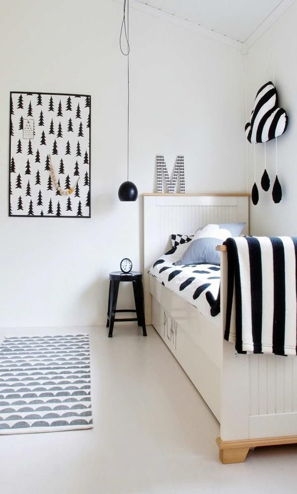 Monochrome kids room kids bedroom idea black