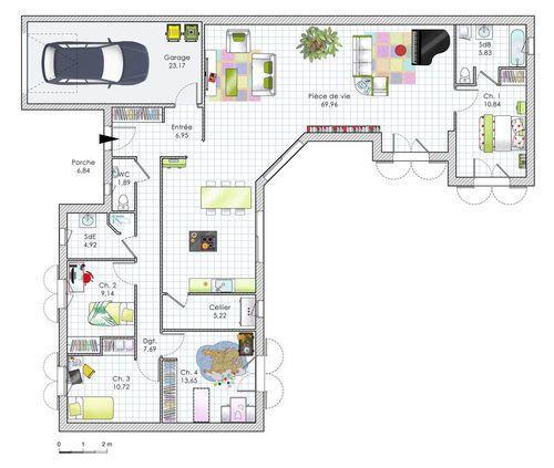 plan maison avec 4 chambres plain pied