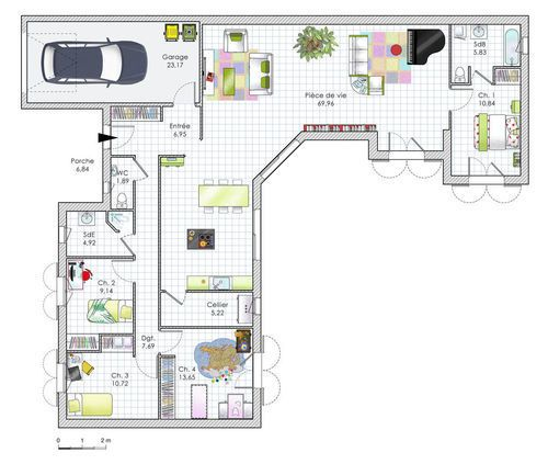 plan maison plain pied 2 chambres garage bretagne