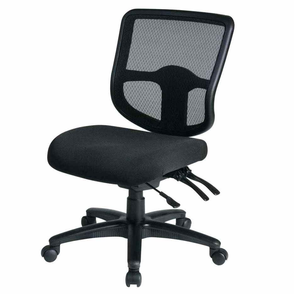 armless task chair black