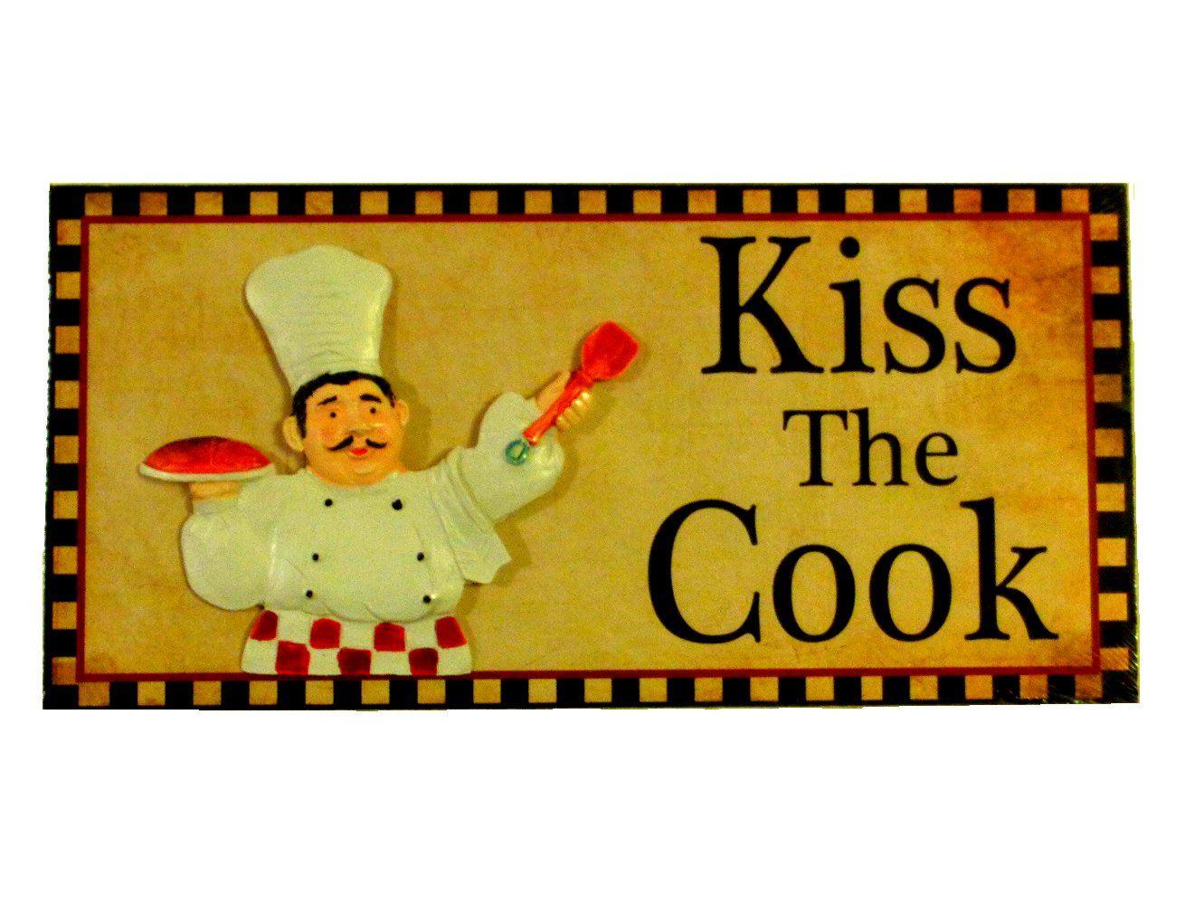 Fat Chef Kitchen Plaque Sign Kiss the Cook | CHEF KITCHEN DECOR ...