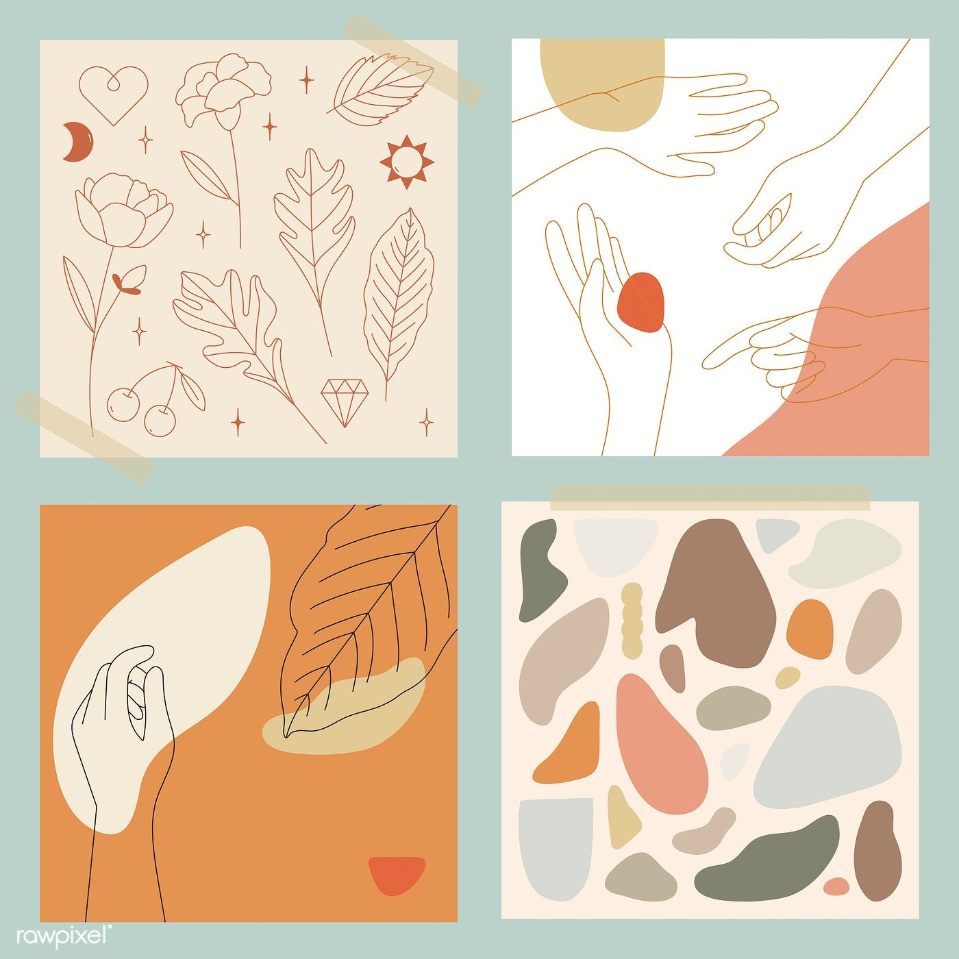 Download premium vector of Feminine Line Art collection