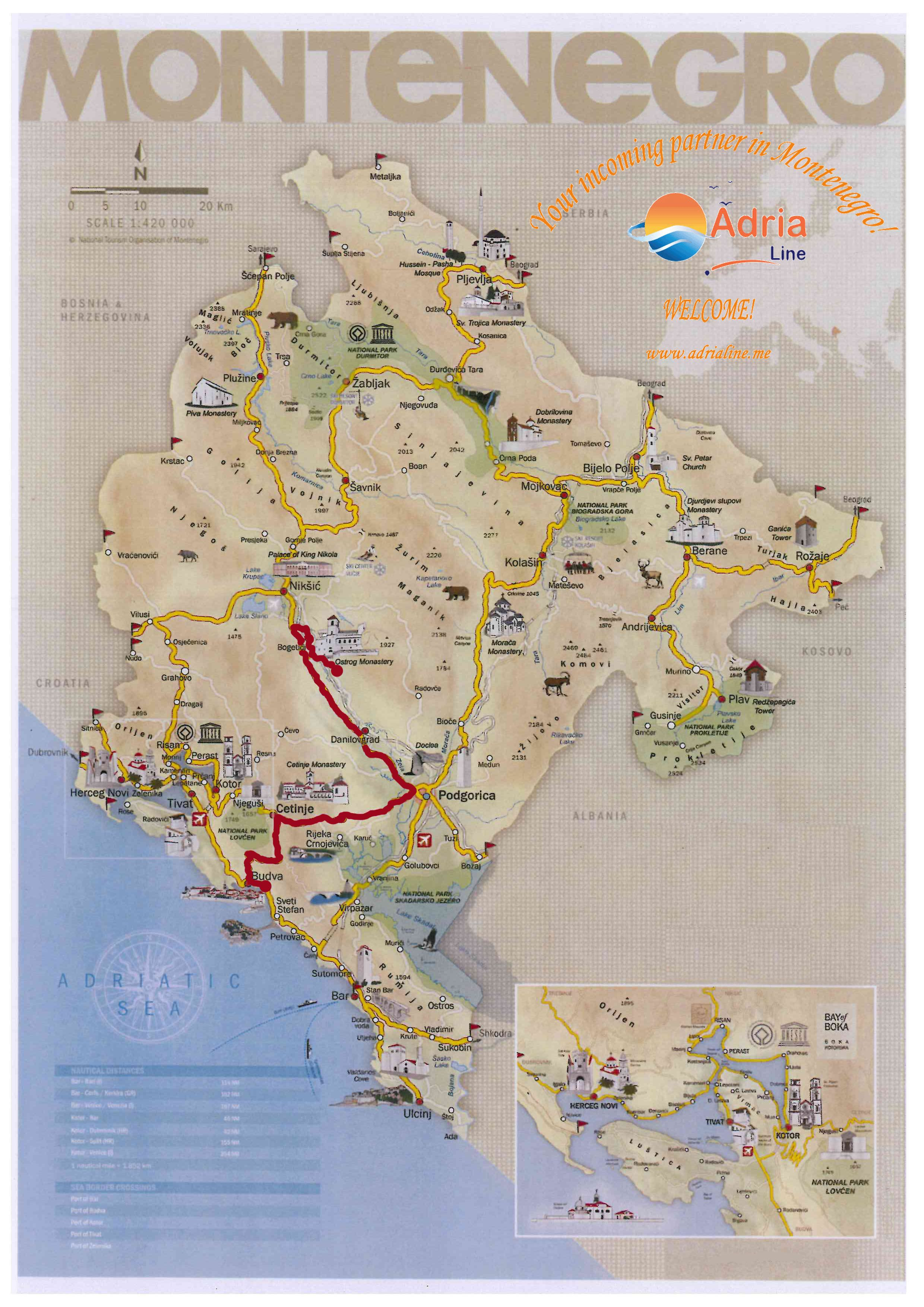 Map Of Excursion Ostrog Monastery Montenegro Map Map Travel