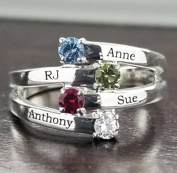 Personalized Kids Name Ring Custom Birthstone Ring Heart Ring Mother/'s Day Gift