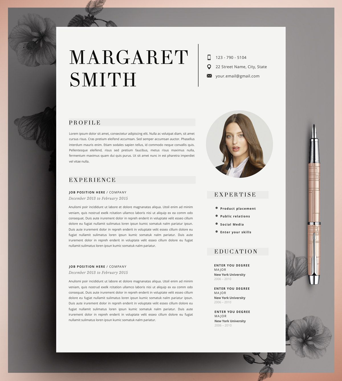 Resume Template Cv Template Editable In Ms Word And Pages Instant