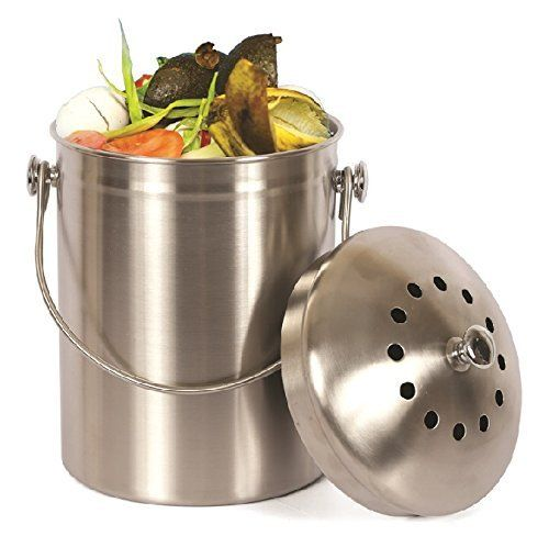 estilo stainless steel compost pail 1 gallon compost bin 2 free rh pinterest com