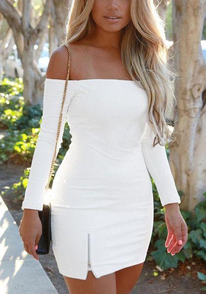 Blonde in a white off-shoulder mini dress