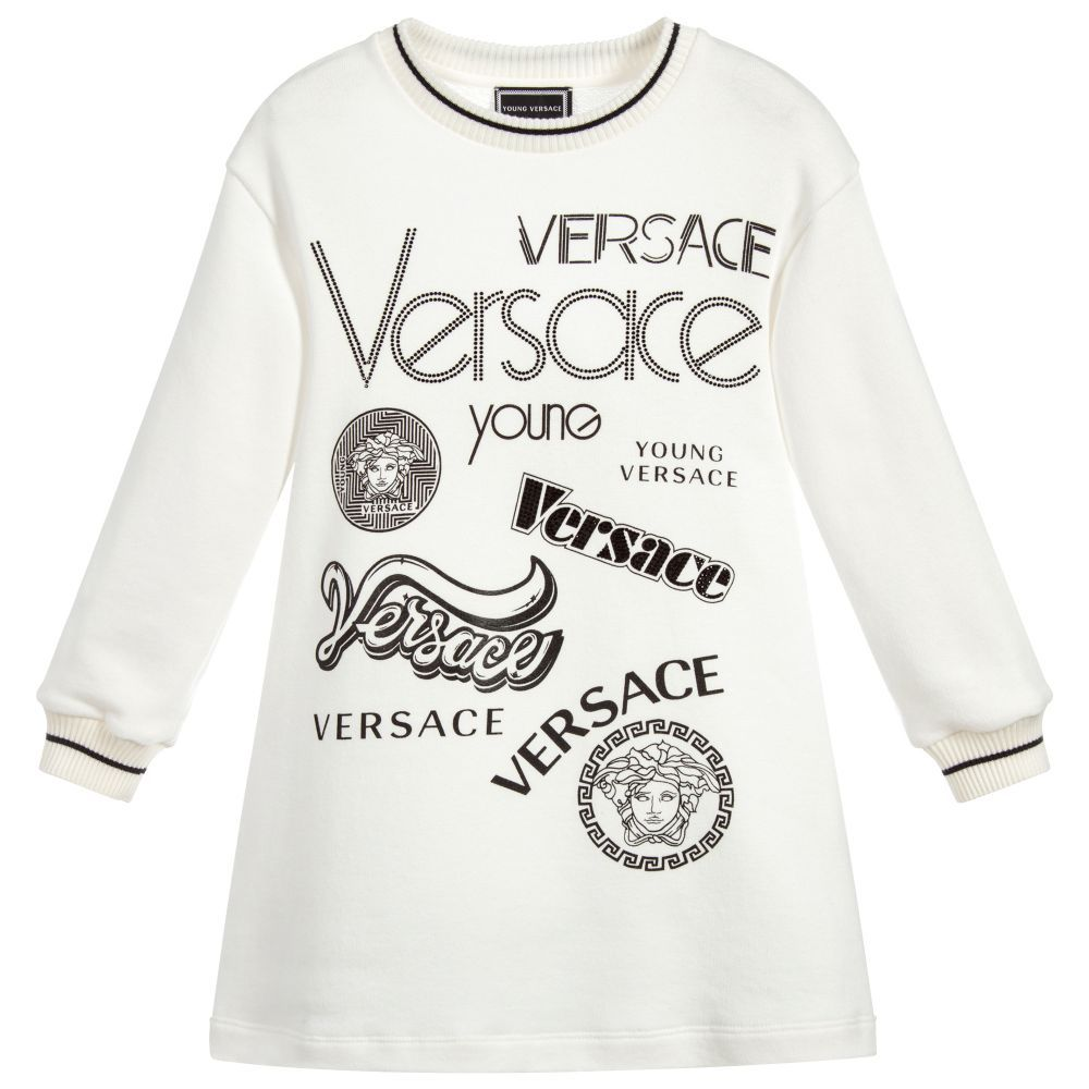 c818f40e1 Ivory Cotton Sweater Dress for Girl by Young Versace. Discover more ...