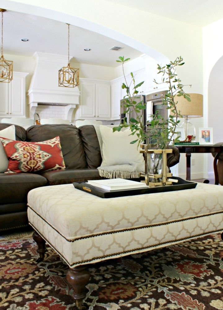 ottoman for living room%0A Sam Moore ottoman with leather sofa in a traditional living room from  Sharon Joyce Interiors