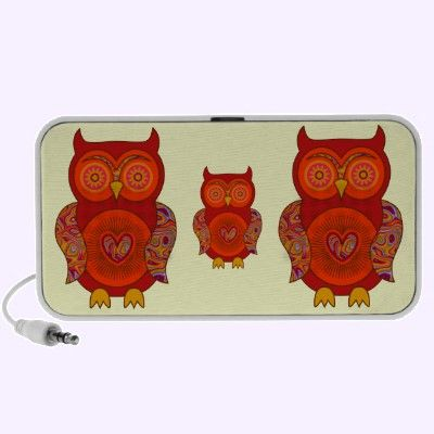Red Psychedelic Owl Travel Music Speakers $44.95