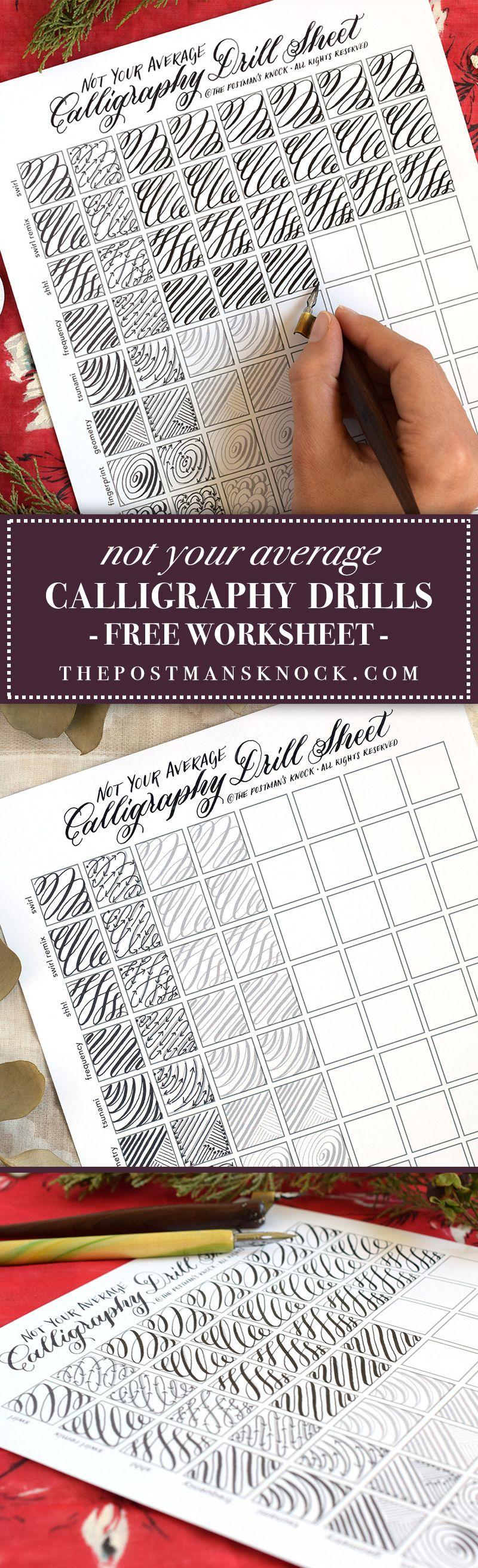 Not Your Average Calligraphy Drills Sheet   Kalligraphie, Schrift ...