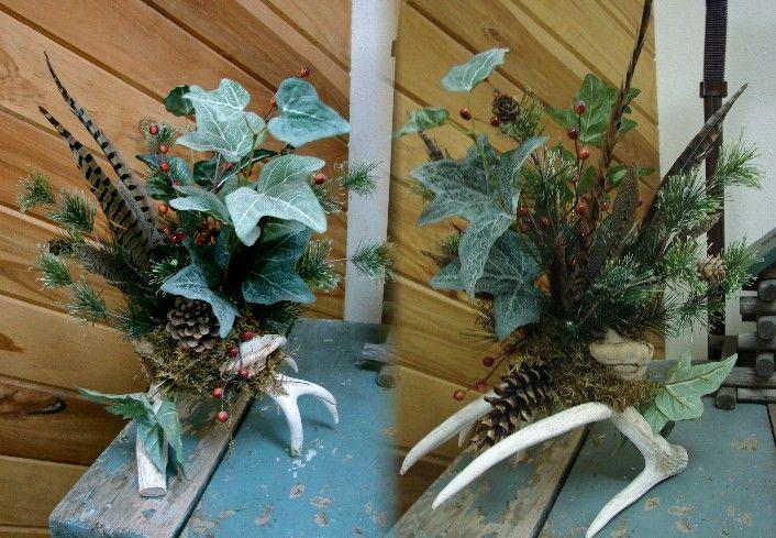 Wildlife Deer Wreath Ideas | Northwoods Memories Deer Antler Pheasant Feather Ivy Centerpiece ...