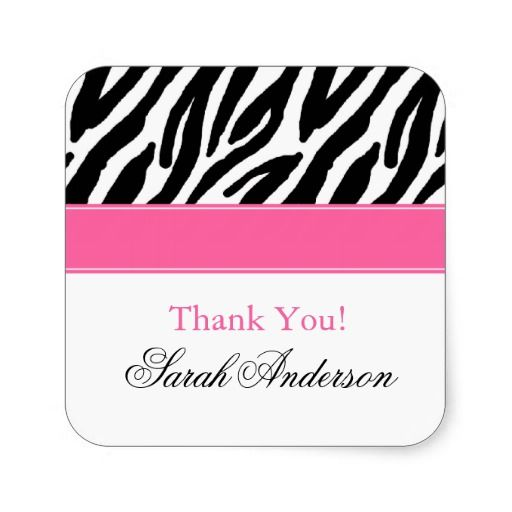 Zebra Pattern Personalized Square Sticker