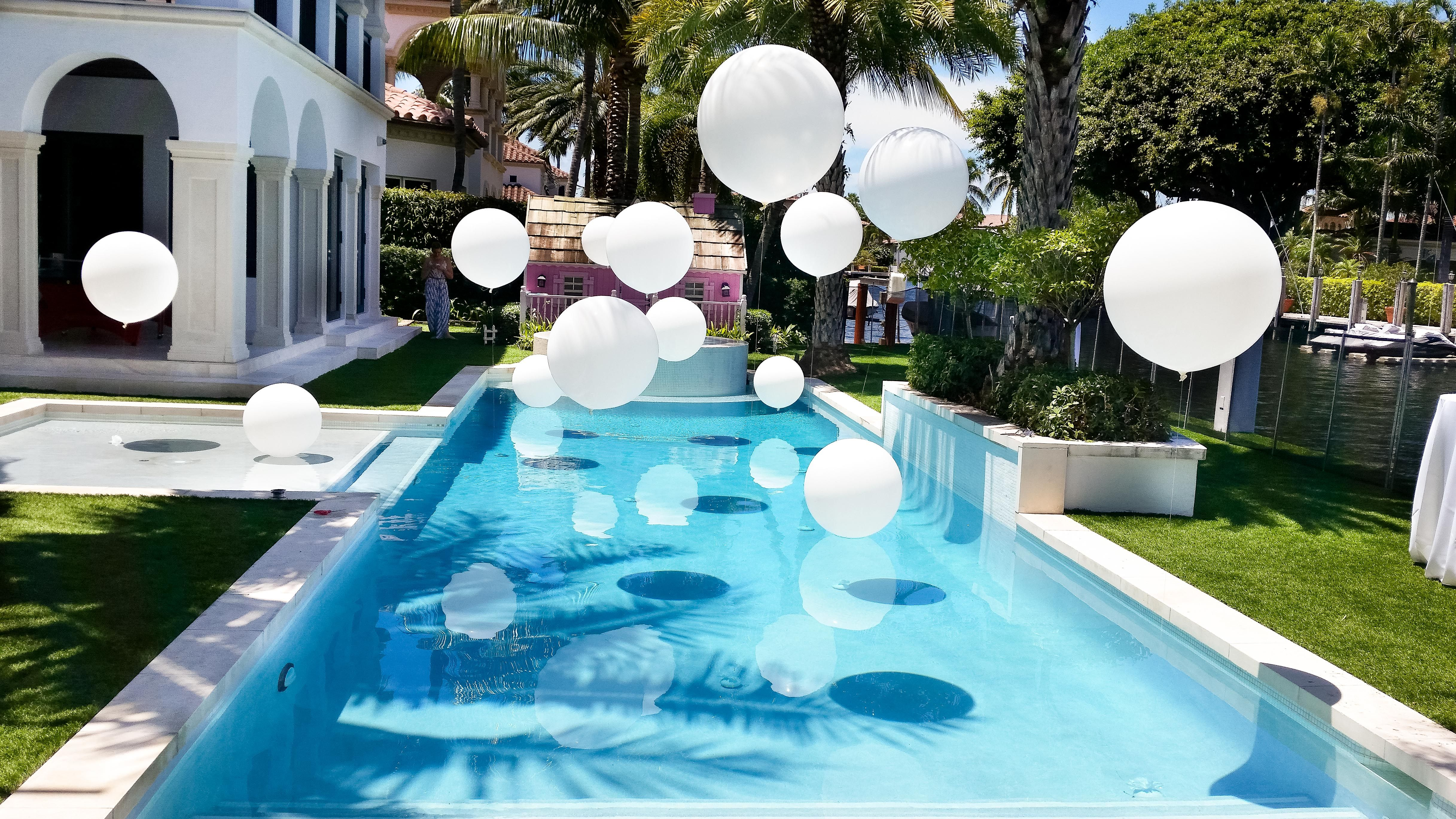 Gold And White Backyard Party Decorations Swimming Pool Wedding