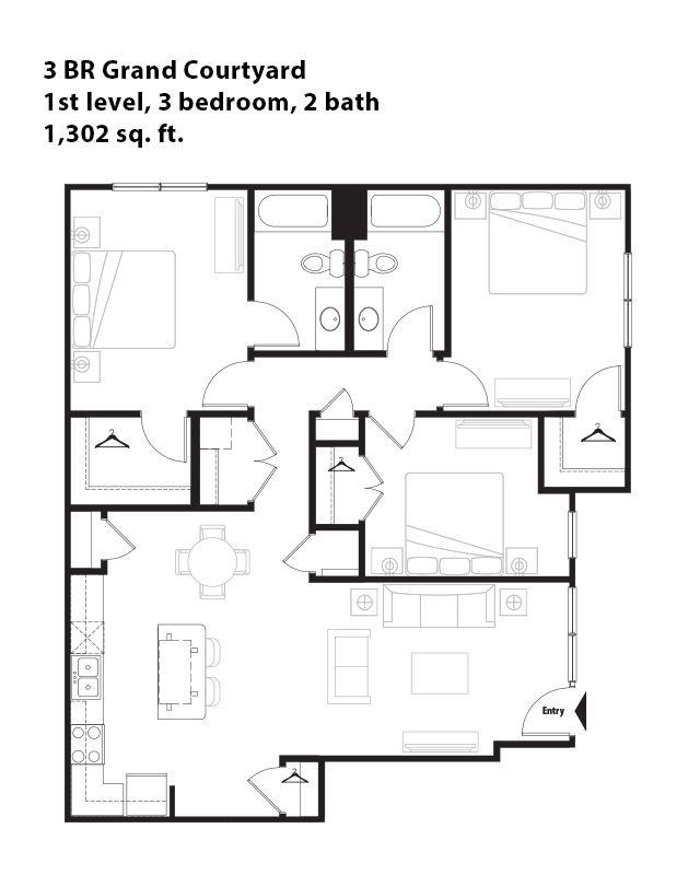 3 Bedroom Grand Courtyard Apartment In San Antonio, TX