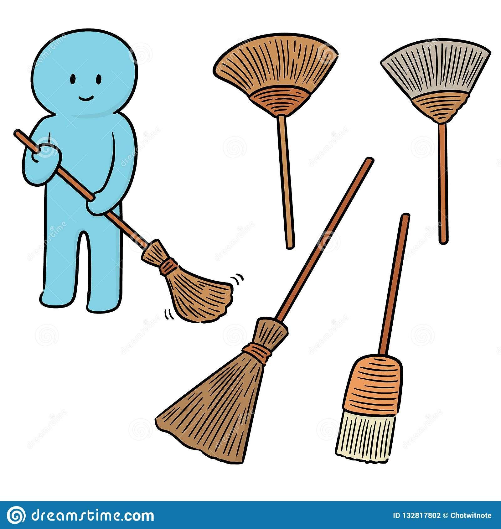Vector Set Of Broom Stock Illustration Illustration Of Drawing