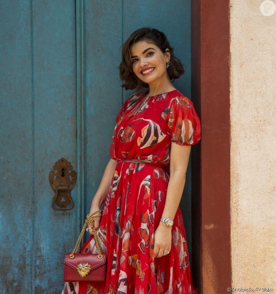 56dacc4b77f741 PHOTOS - All red! O vestido vermelho estampado que Vanessa Giácomo ...