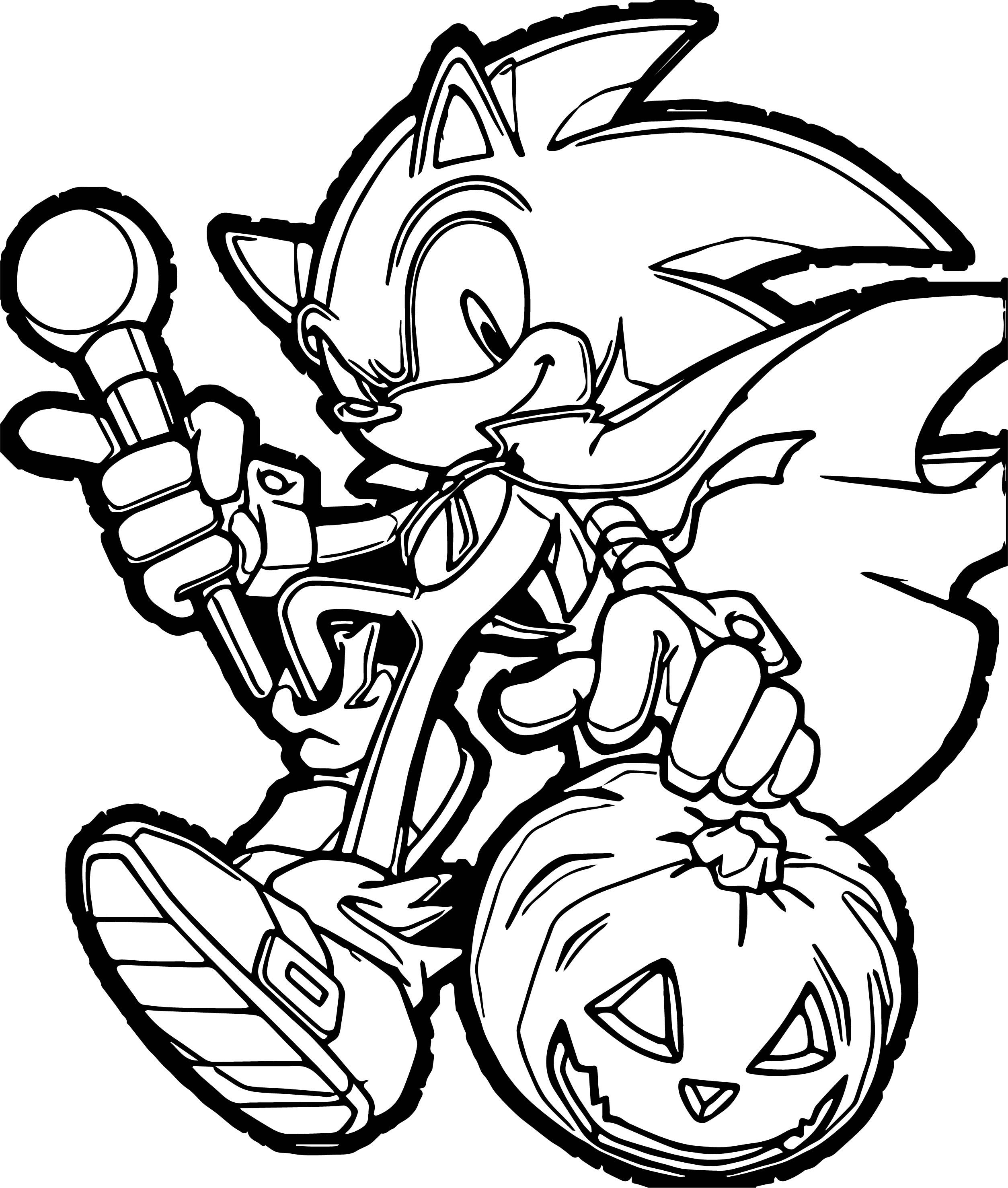 Cool Sonic The Hedgehog Halloween Pumpkin Coloring Page