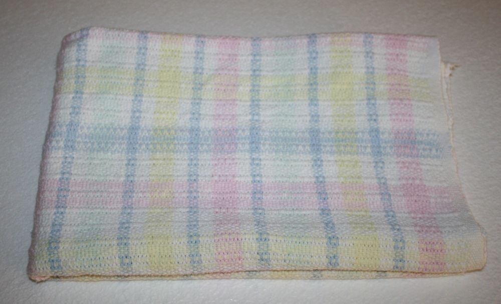 Cotton Woven Baby Blanket Pastel Blue Yellow Pink White Soft 100 Plaid Weave Cotton Weaving Baby Blanket Cuddly Blanket