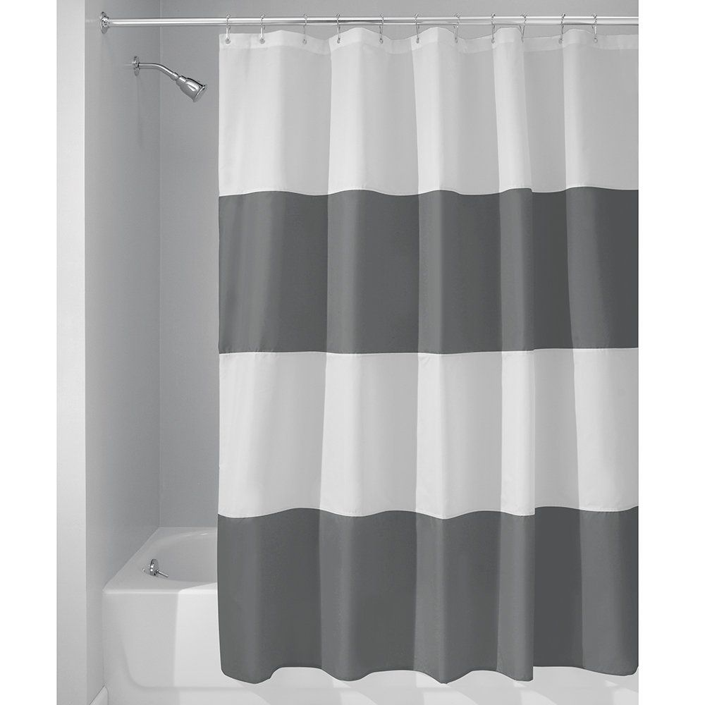 High quality arts shower curtains gray white simple stripes bathroom