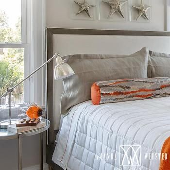 gray headboard with orange and gray bolster pillow guest bedroom rh pinterest com