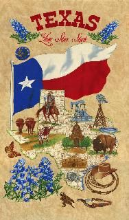Quilt Fabric Panel State Of Texas From Moda Fabrics By