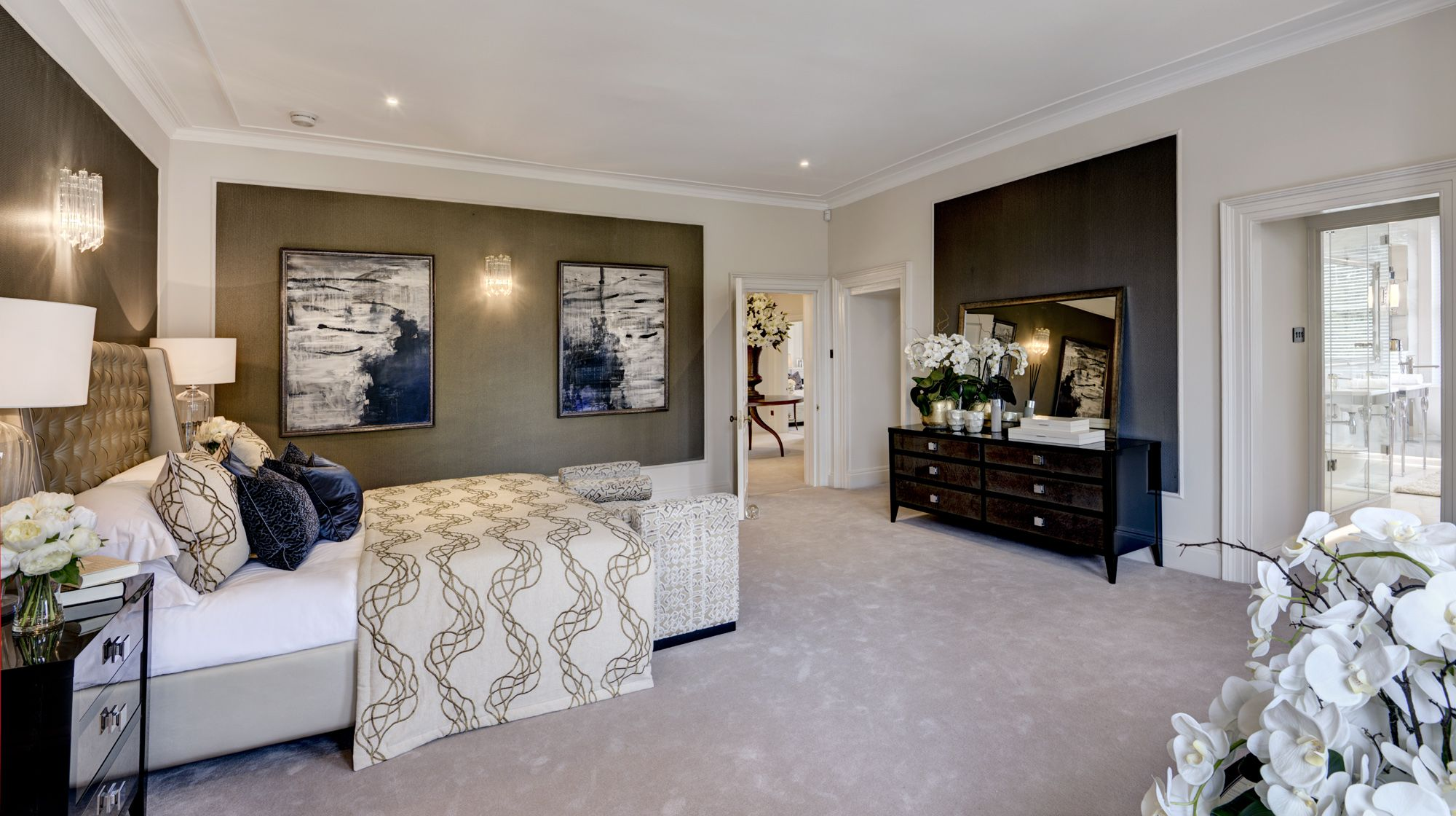 Master bedroom suite with wallpapered panelling in