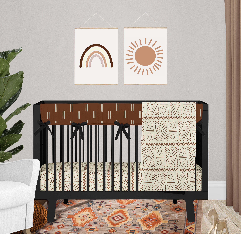 Mudcloth Crib Bedding Set Boho Baby Nursery Rust And Cream Etsy In 2021 Boho Baby Nursery Boho Crib Bedding Baby Boy Crib Bedding