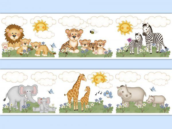 Safari Animal Wallpaper Border Wall Decals Jungle Nursery Decampstudios