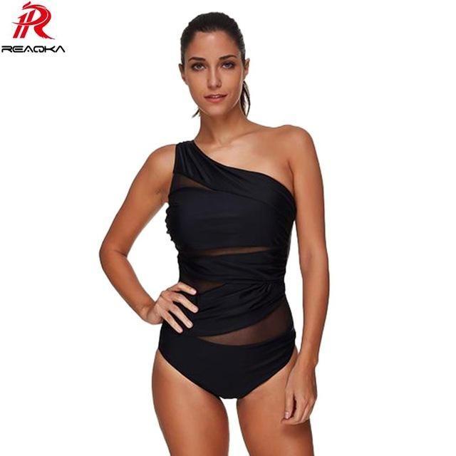 Women Bodysuit See Through Ruffle Black One shoulder Bodycon Bodysuits