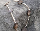 White Fresh Water Pearl and Brown Shell Necklace