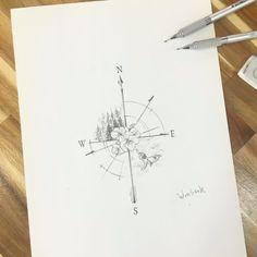 "classylittletattoos: ""compass tattoo by tattooist_wonseok… """