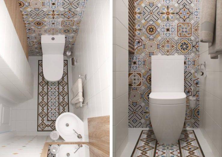Mini appartamento in azzurro bianco e legno il bagno con