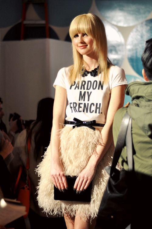Kate Spade: NYFW F/W 2012, fringe skirt, pale pink, skinny belt, bow, black peter pan collar necklace