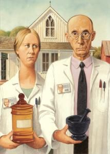 American Gothic Pharmacy-style. Admit it, we all know pharmacists who look like this