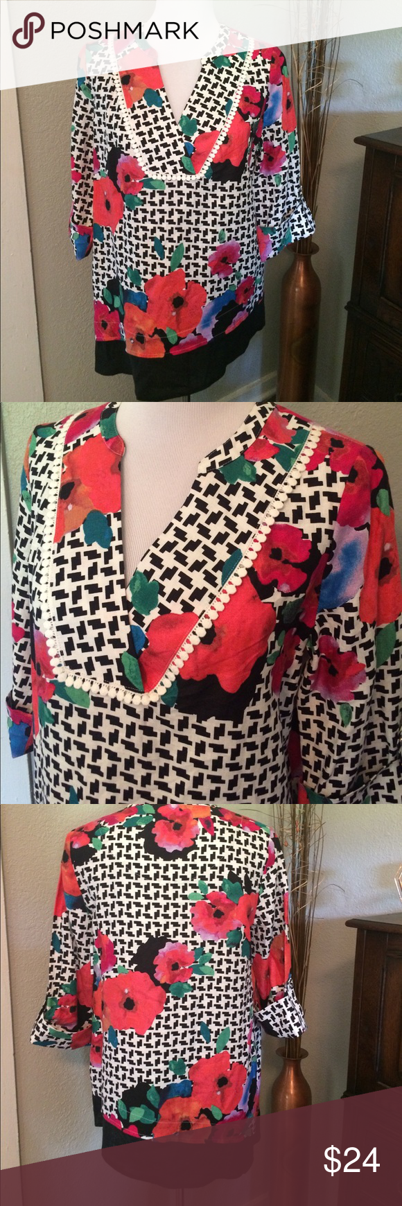 Asymmetrical Linen Poppy Tunic by Rafaella Never worn. 100% linen Rafaella Tops Tunics