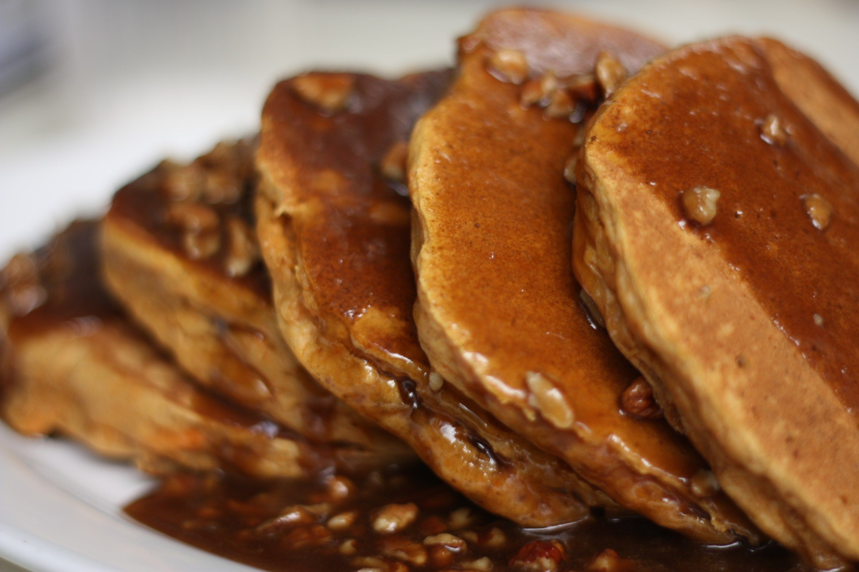 Sweet Potato Pancakes with  Butter Pecan Sauce.  Photo by Libby Truesdell.