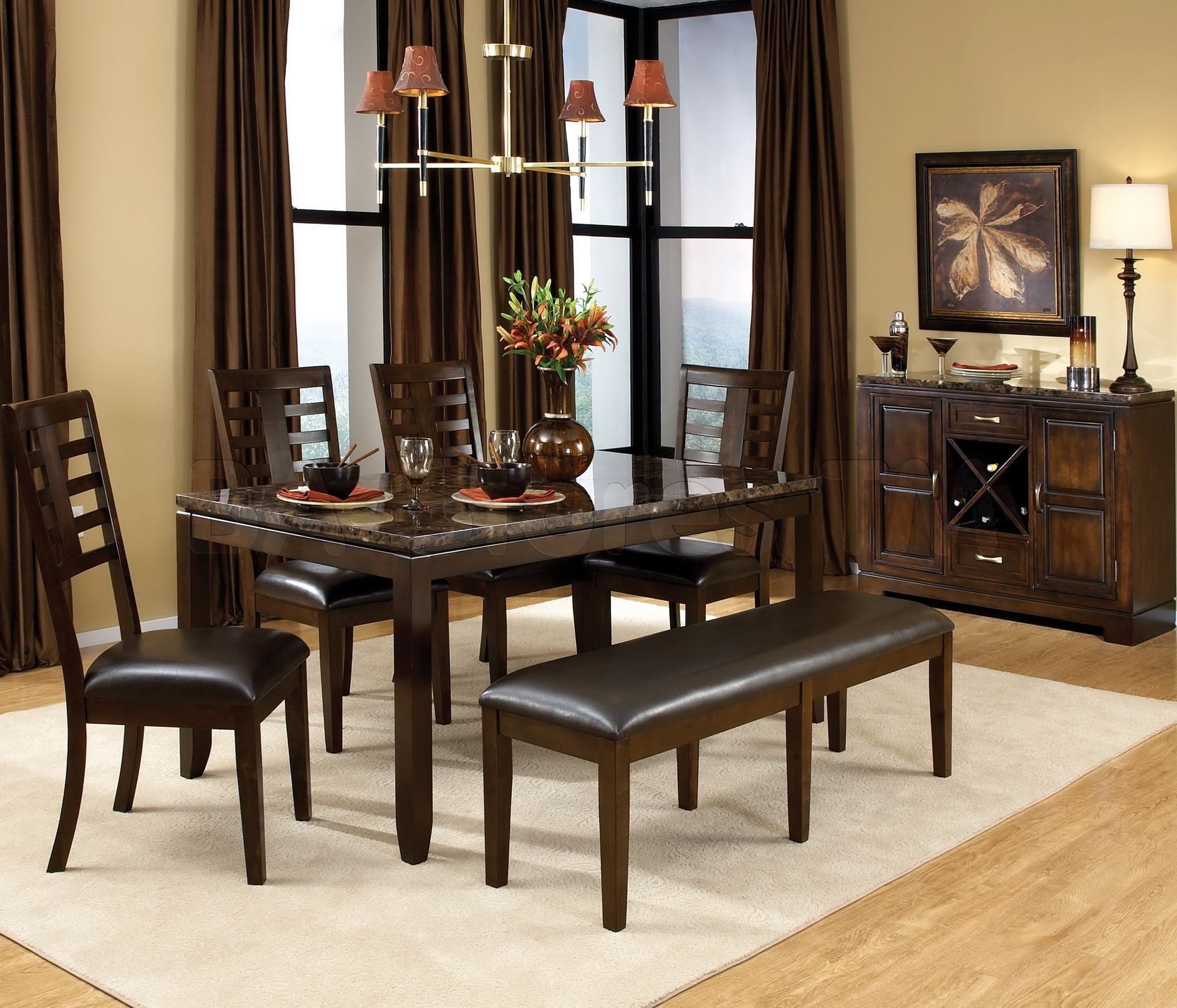 Ordinaire Marvelous Classic Ikea Dining Sets With Brown Color And Single Bench On  White Dining Rugs Over