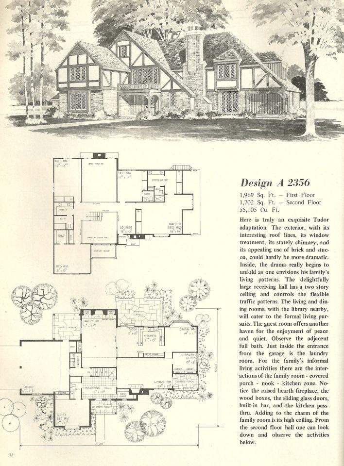 vintage house plan Vintage House Plans 1970s homes Tudor style