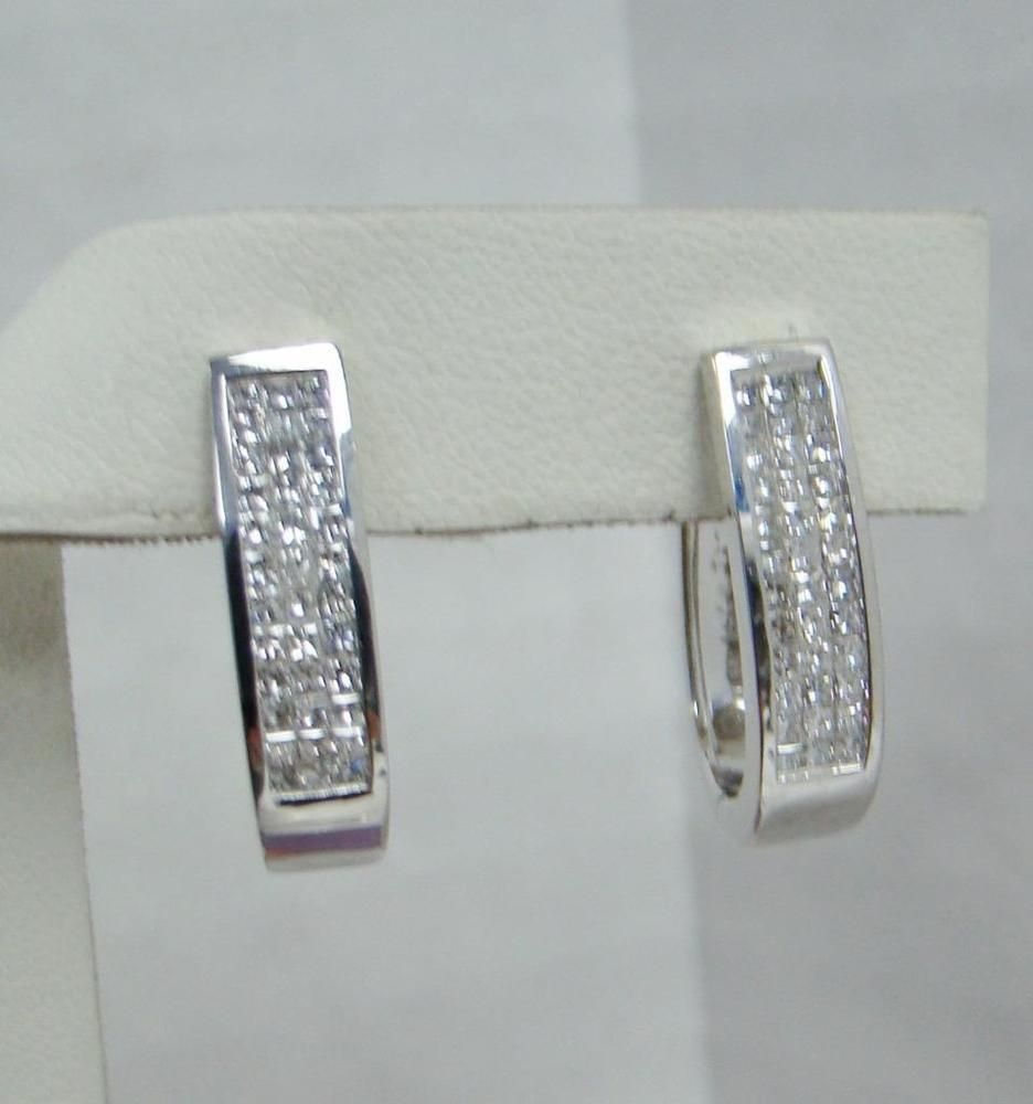 carat amoro square diamond earrings exclusive white set round gold invisibly invisible